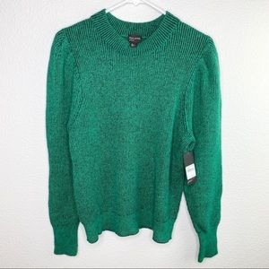 NWT Free Press Green Plaited Puff Long Sleeve Top